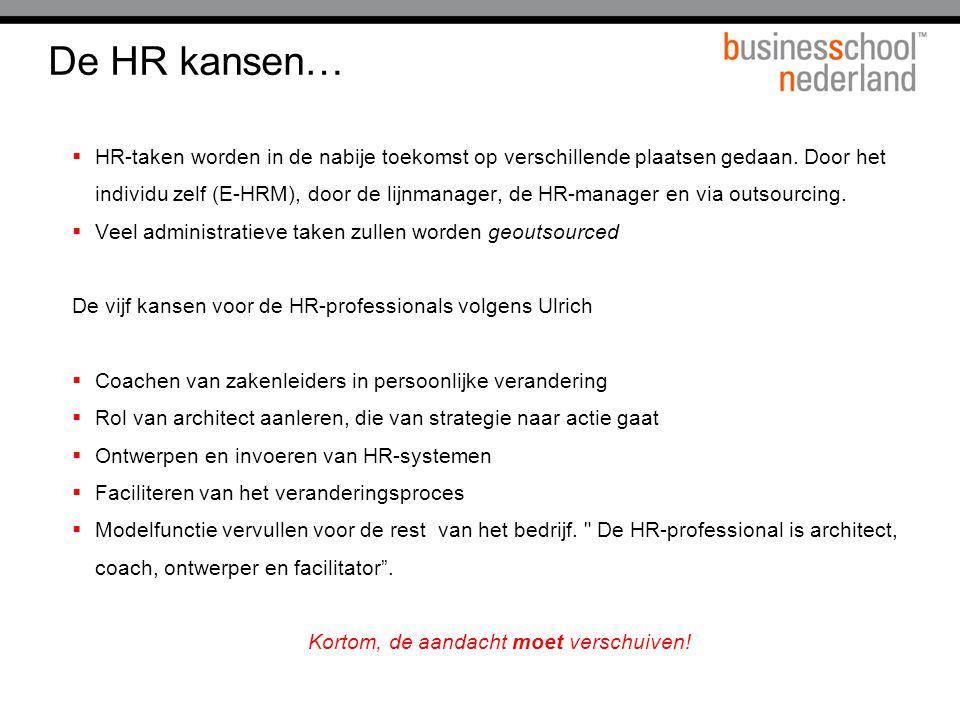 De HR kansen…  HR-taken worden in de nabije toekomst op verschillende plaatsen gedaan. Door het individu zelf (E-HRM), door de lijnmanager, de HR-man