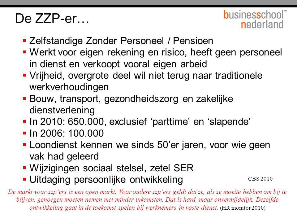 De ZZP-er…  Zelfstandige Zonder Personeel / Pensioen  Werkt voor eigen rekening en risico, heeft geen personeel in dienst en verkoopt vooral eigen a