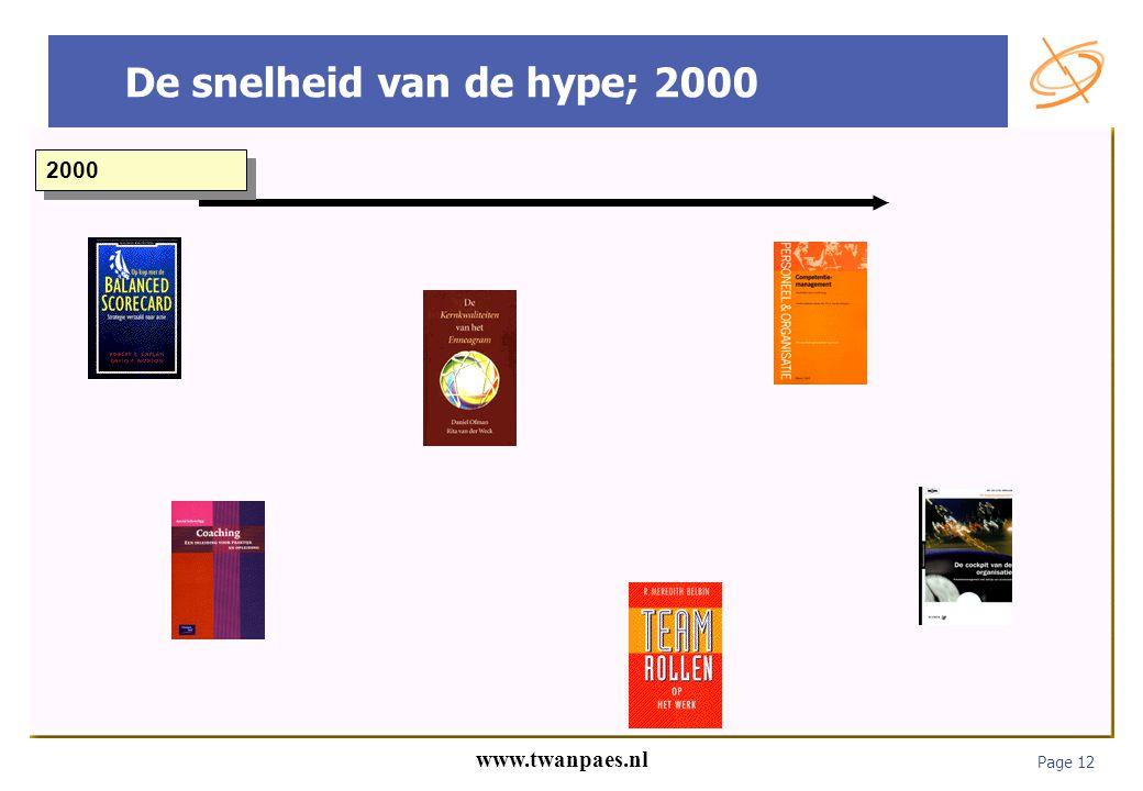 Page 12 www.twanpaes.nl De snelheid van de hype; 2000 2000