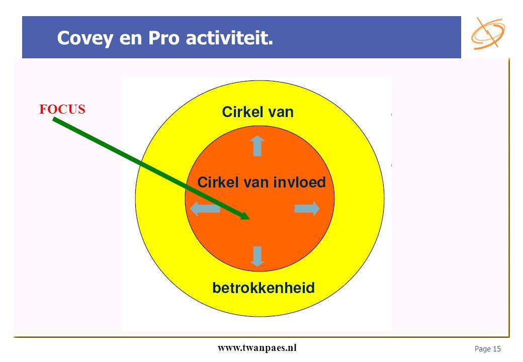 Page 15 www.twanpaes.nl Covey en Pro activiteit. FOCUS