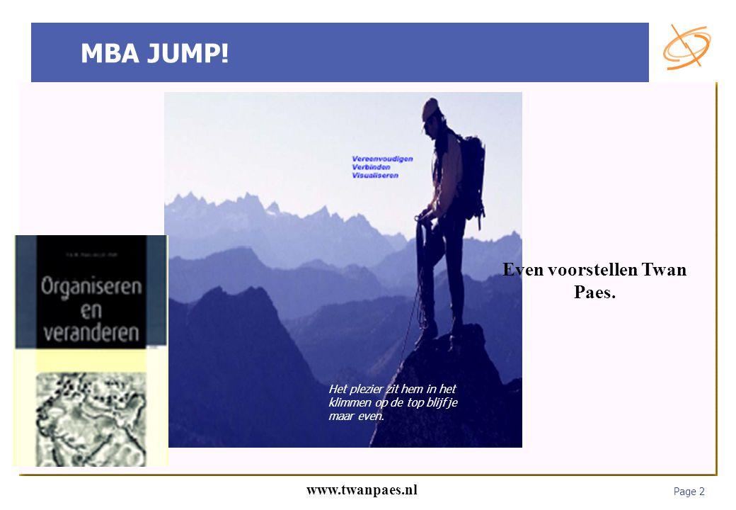 Page 2 www.twanpaes.nl MBA JUMP! Het plezier zit hem in het klimmen op de top blijf je maar even. Even voorstellen Twan Paes.