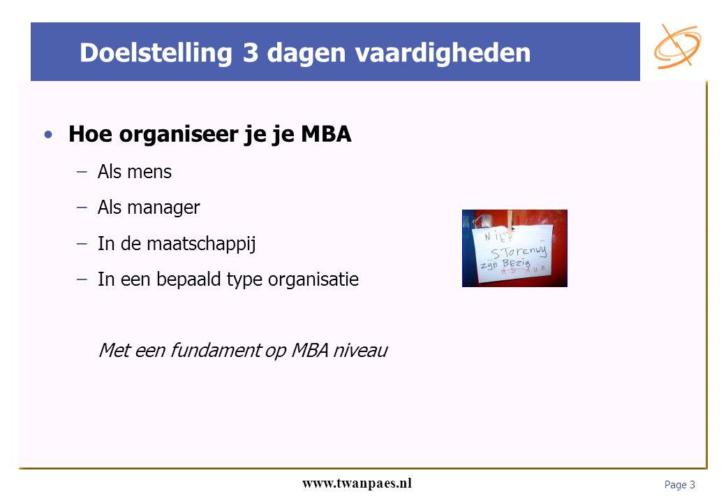 Page 3 www.twanpaes.nl Doelstelling 3 dagen vaardigheden Hoe organiseer je je MBA –Als mens –Als manager –In de maatschappij –In een bepaald type orga