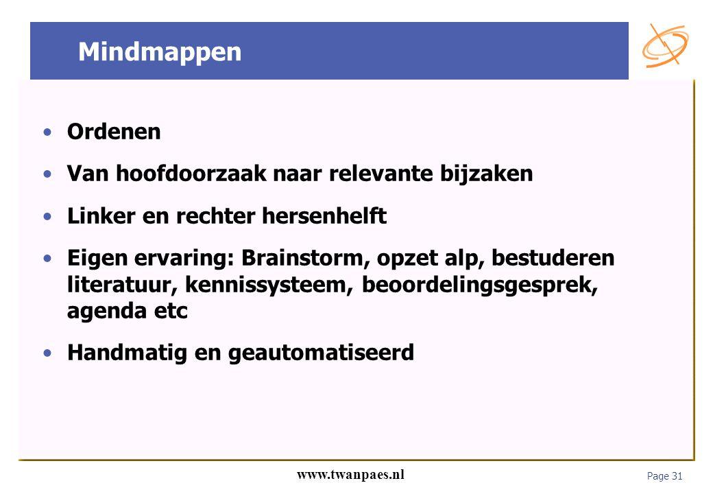 Page 31 www.twanpaes.nl Mindmappen Ordenen Van hoofdoorzaak naar relevante bijzaken Linker en rechter hersenhelft Eigen ervaring: Brainstorm, opzet al