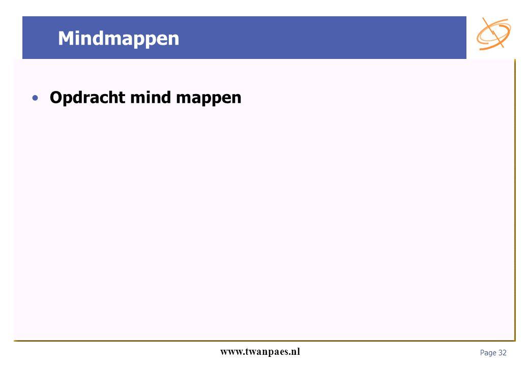 Page 32 www.twanpaes.nl Mindmappen Opdracht mind mappen
