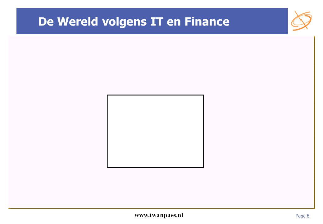 Page 8 www.twanpaes.nl De Wereld volgens IT en Finance