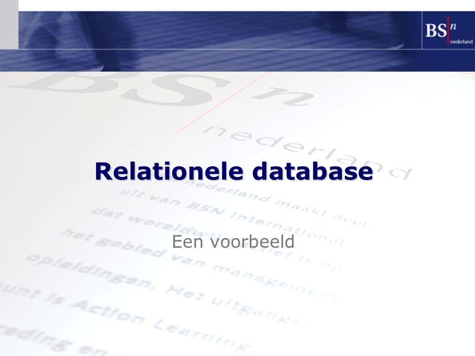Een voorbeeld Relationele database