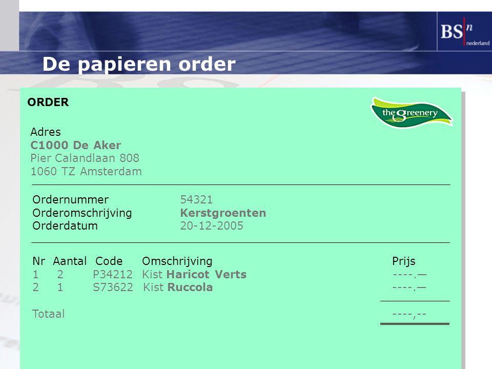 De papieren order ORDER Adres C1000 De Aker Pier Calandlaan 808 1060 TZ Amsterdam Ordernummer54321 OrderomschrijvingKerstgroenten Orderdatum20-12-2005 Nr Aantal Code Omschrijving Prijs 12 P34212 Kist Haricot Verts ----.— 21 S73622 Kist Ruccola ----.— Totaal ----,--