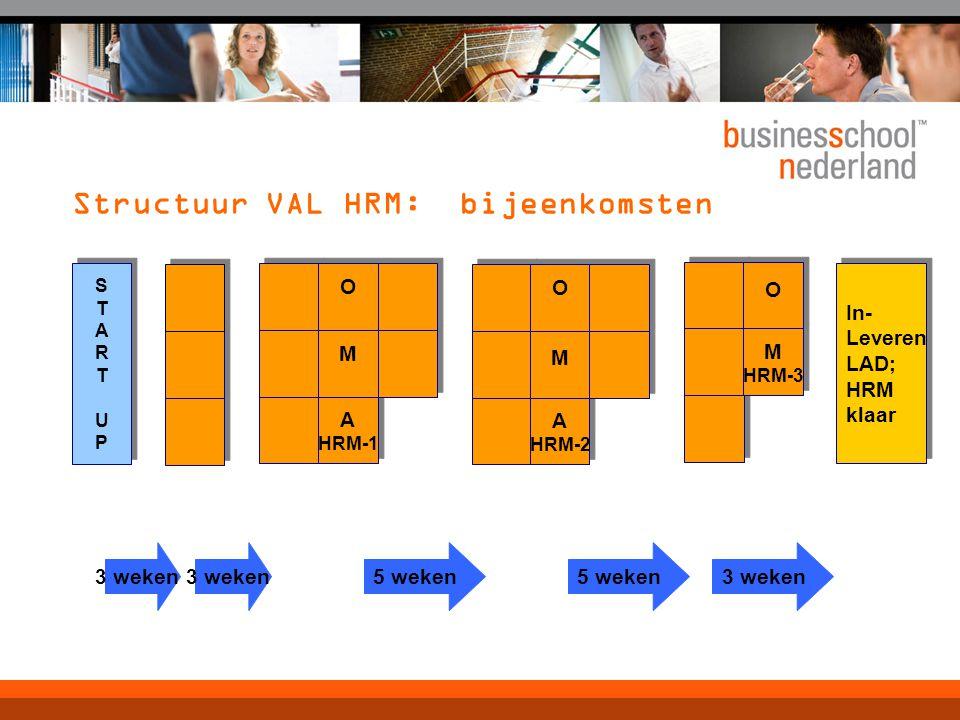 Structuur VAL HRM: bijeenkomsten A HRM-1 A HRM-1 STARTUPSTARTUP STARTUPSTARTUP In- Leveren LAD; HRM klaar In- Leveren LAD; HRM klaar M M O O A HRM-2 A HRM-2 M M O O M HRM-3 M HRM-3 O O 3 weken 5 weken 3 weken