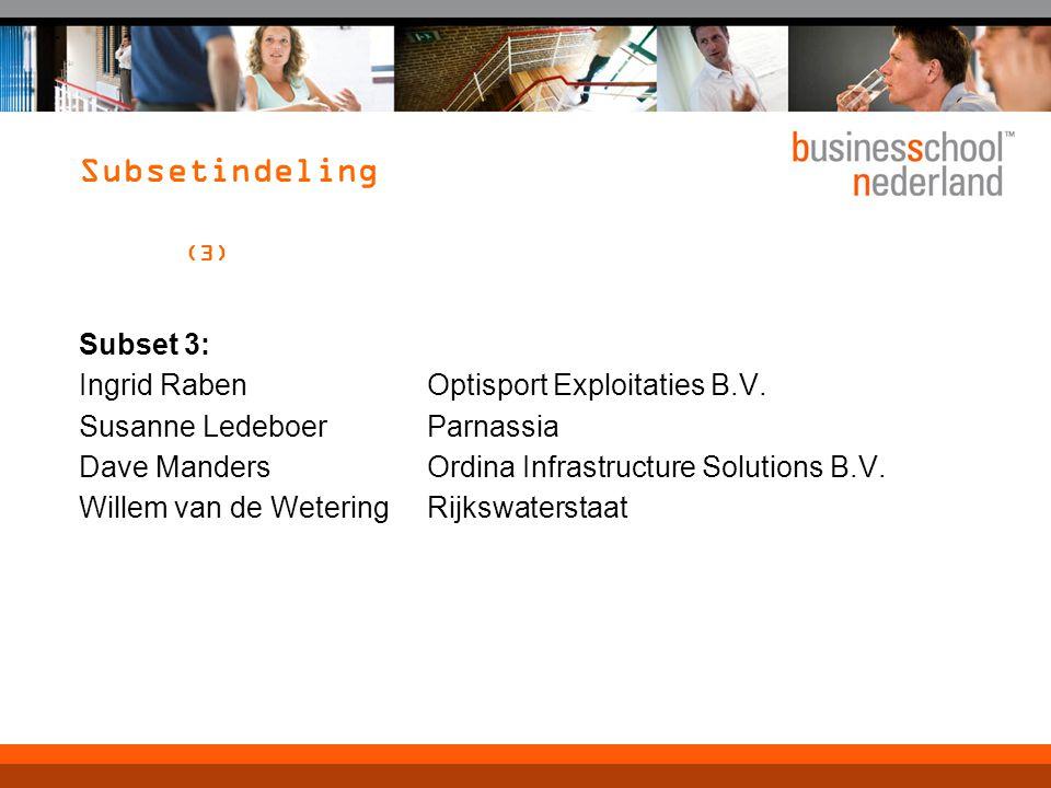 Subsetindeling (3) Subset 3: Ingrid Raben Optisport Exploitaties B.V. Susanne Ledeboer Parnassia Dave Manders Ordina Infrastructure Solutions B.V. Wil