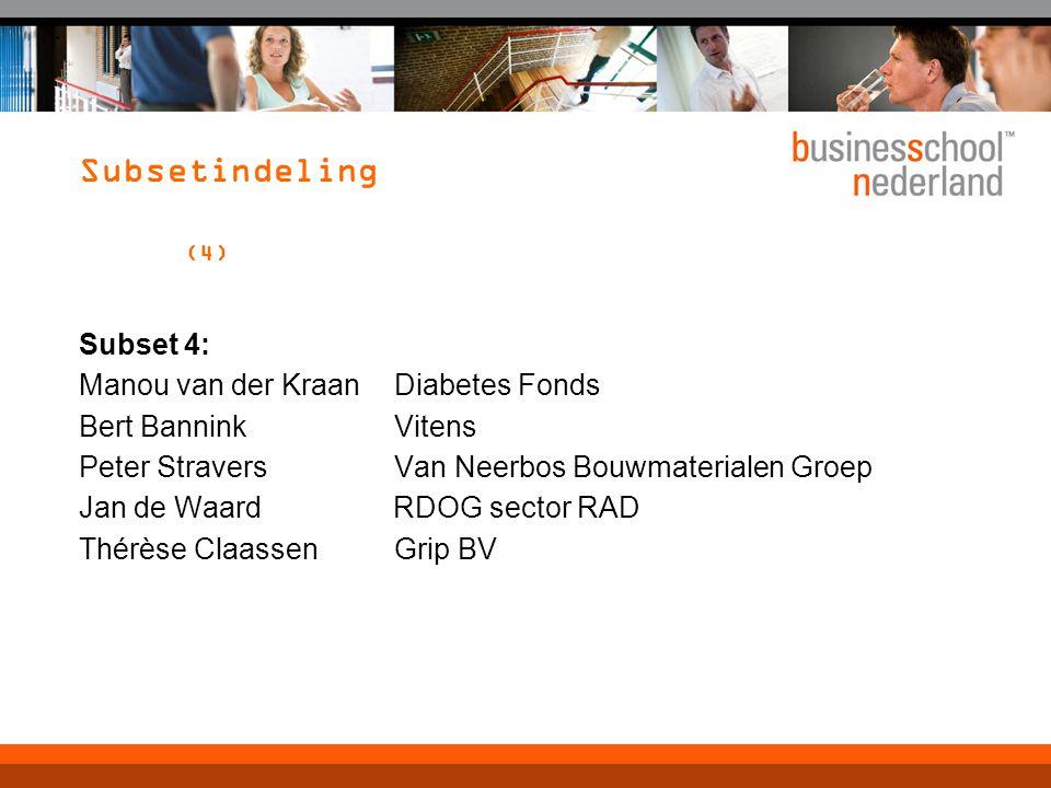Subsetindeling (4) Subset 4: Manou van der KraanDiabetes Fonds Bert BanninkVitens Peter StraversVan Neerbos Bouwmaterialen Groep Jan de Waard RDOG sector RAD Thérèse ClaassenGrip BV