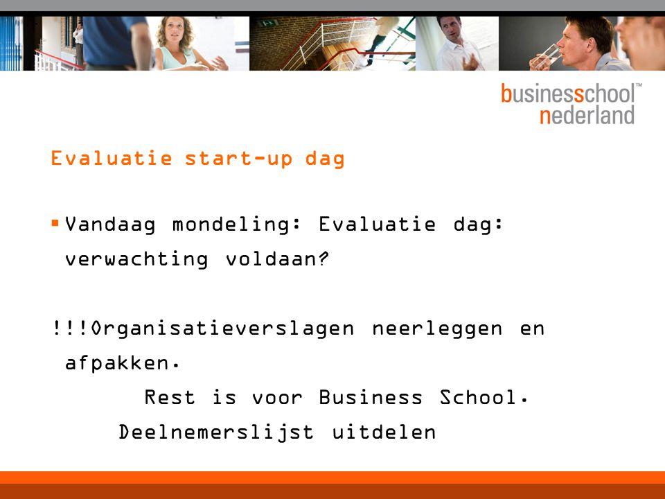 Evaluatie start-up dag  Vandaag mondeling: Evaluatie dag: verwachting voldaan.