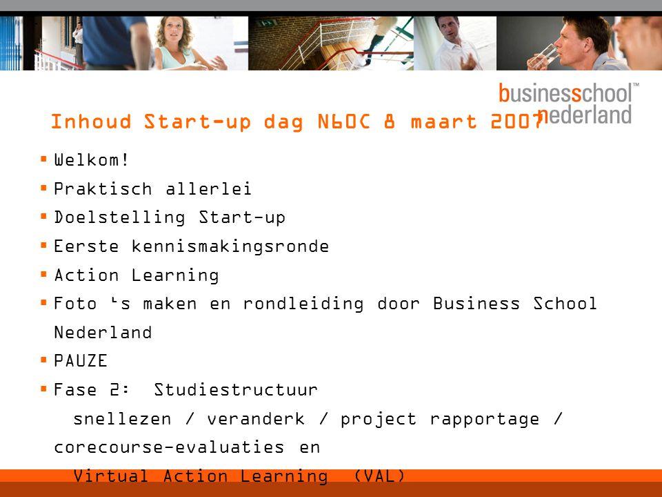 Inhoud Start-up dag N60C 8 maart 2007  Welkom!  Praktisch allerlei  Doelstelling Start-up  Eerste kennismakingsronde  Action Learning  Foto 's m