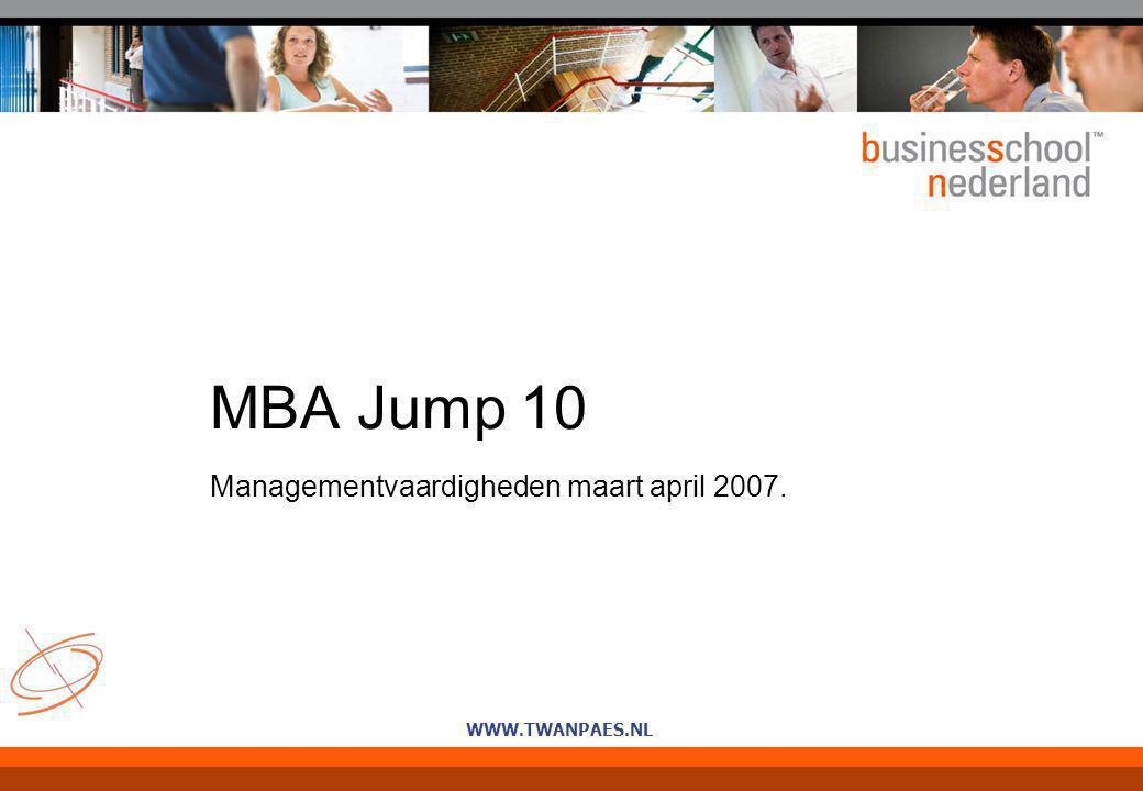 WWW.TWANPAES.NL MBA Jump 10 Managementvaardigheden maart april 2007.