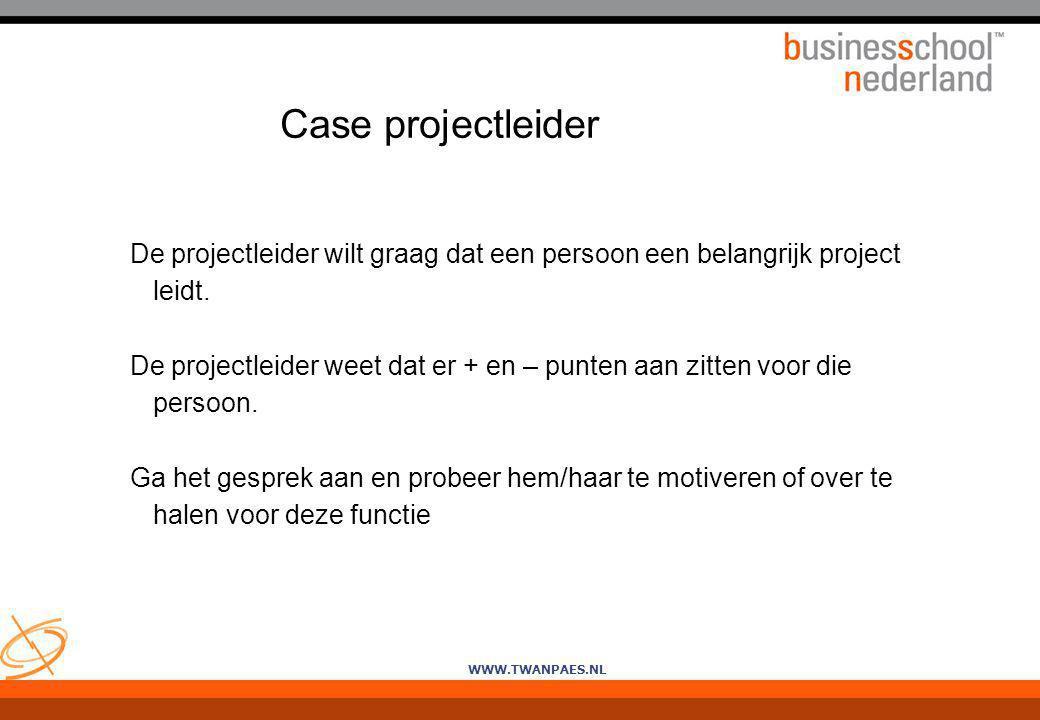 WWW.TWANPAES.NL Case projectleider De projectleider wilt graag dat een persoon een belangrijk project leidt. De projectleider weet dat er + en – punte