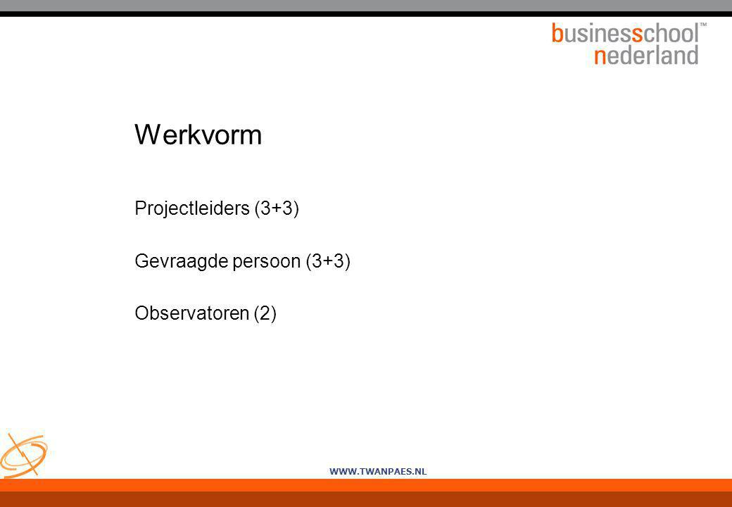 WWW.TWANPAES.NL Werkvorm Projectleiders (3+3) Gevraagde persoon (3+3) Observatoren (2)