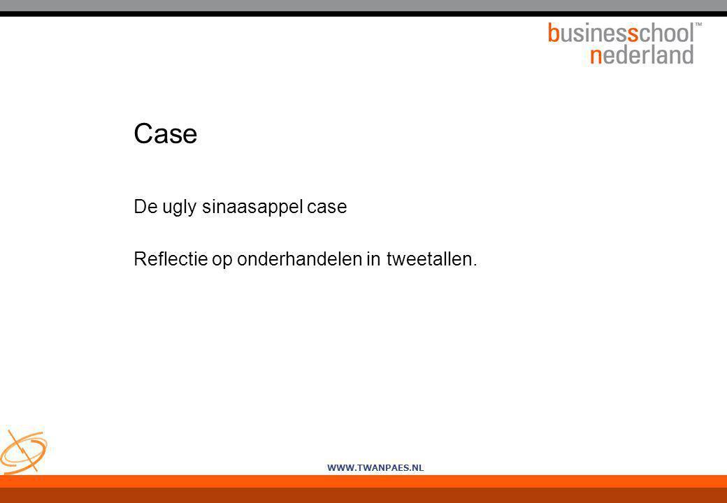 WWW.TWANPAES.NL Case De ugly sinaasappel case Reflectie op onderhandelen in tweetallen.
