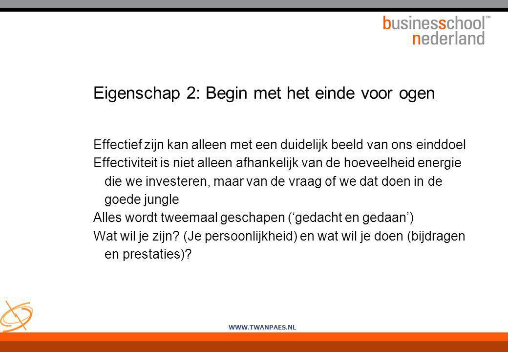 WWW.TWANPAES.NL Eigenschap 2: Begin met het einde voor ogen Effectief zijn kan alleen met een duidelijk beeld van ons einddoel Effectiviteit is niet a