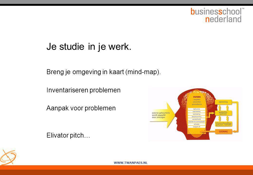 WWW.TWANPAES.NL Je studie in je werk. Breng je omgeving in kaart (mind-map). Inventariseren problemen Aanpak voor problemen Elivator pitch…