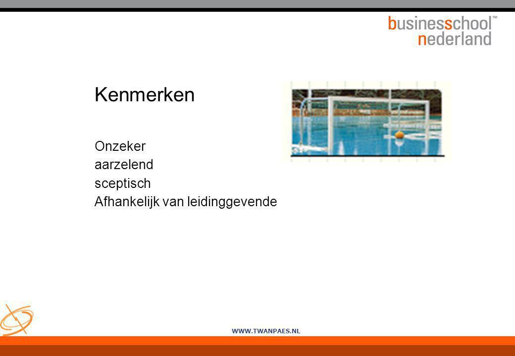 WWW.TWANPAES.NL Kenmerken Onzeker aarzelend sceptisch Afhankelijk van leidinggevende