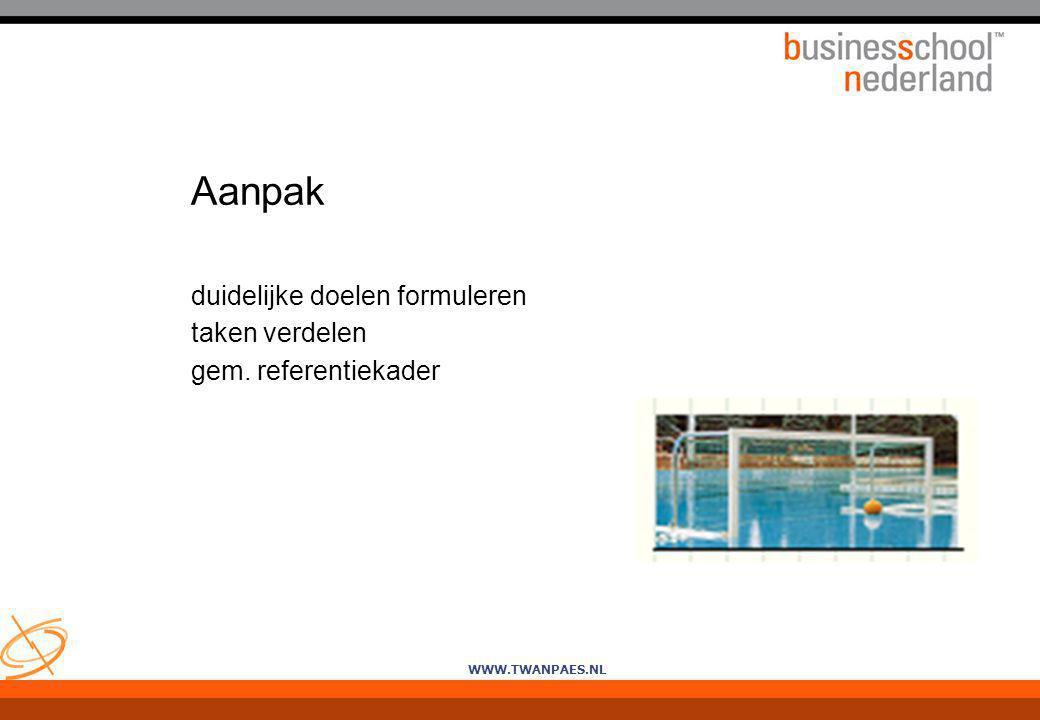 WWW.TWANPAES.NL Aanpak duidelijke doelen formuleren taken verdelen gem. referentiekader