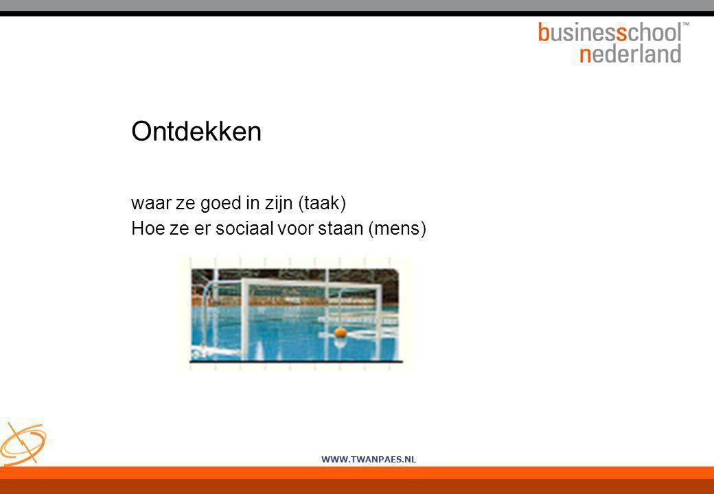 WWW.TWANPAES.NL Ontdekken waar ze goed in zijn (taak) Hoe ze er sociaal voor staan (mens)