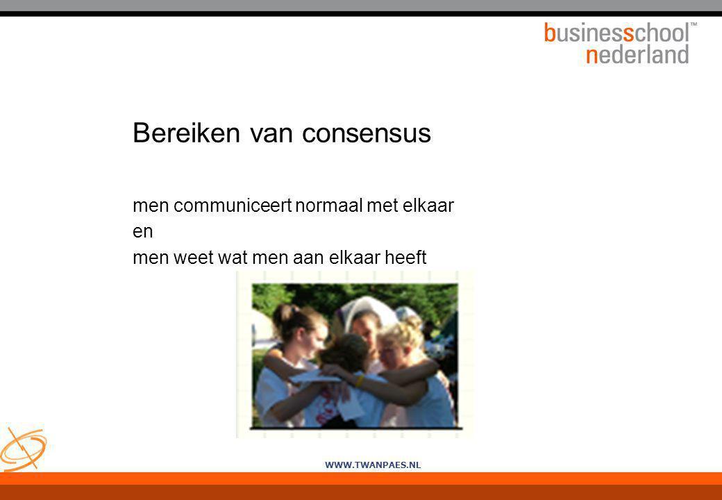 WWW.TWANPAES.NL Bereiken van consensus men communiceert normaal met elkaar en men weet wat men aan elkaar heeft