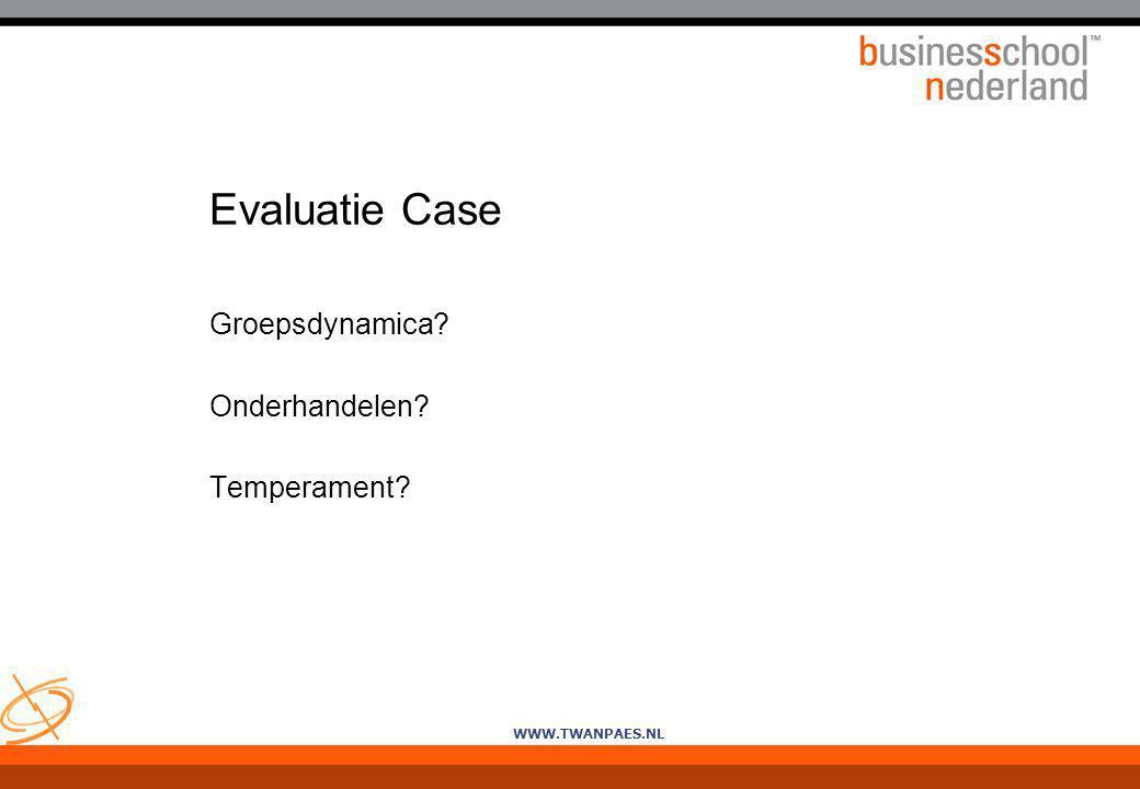 WWW.TWANPAES.NL Evaluatie Case Groepsdynamica? Onderhandelen? Temperament?