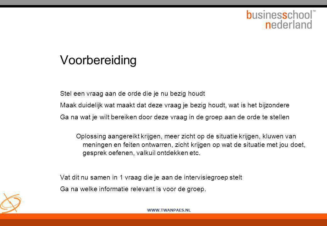 WWW.TWANPAES.NL Voorbereiding Stel een vraag aan de orde die je nu bezig houdt Maak duidelijk wat maakt dat deze vraag je bezig houdt, wat is het bijz
