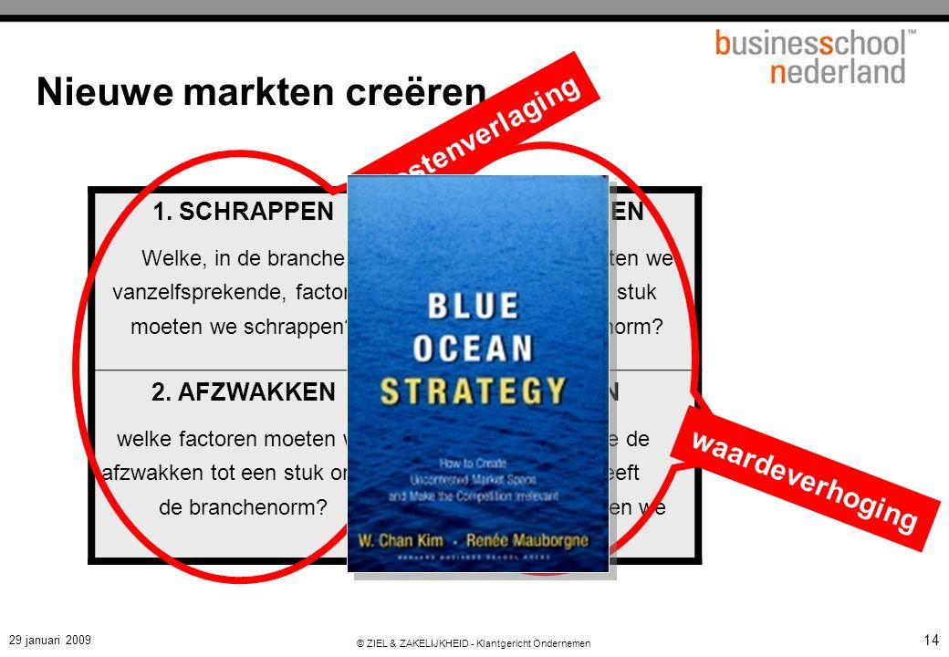 29 januari 2009 © ZIEL & ZAKELIJKHEID - Klantgericht Ondernemen 14 Nieuwe markten creëren 1. SCHRAPPEN Welke, in de branche vanzelfsprekende, factoren