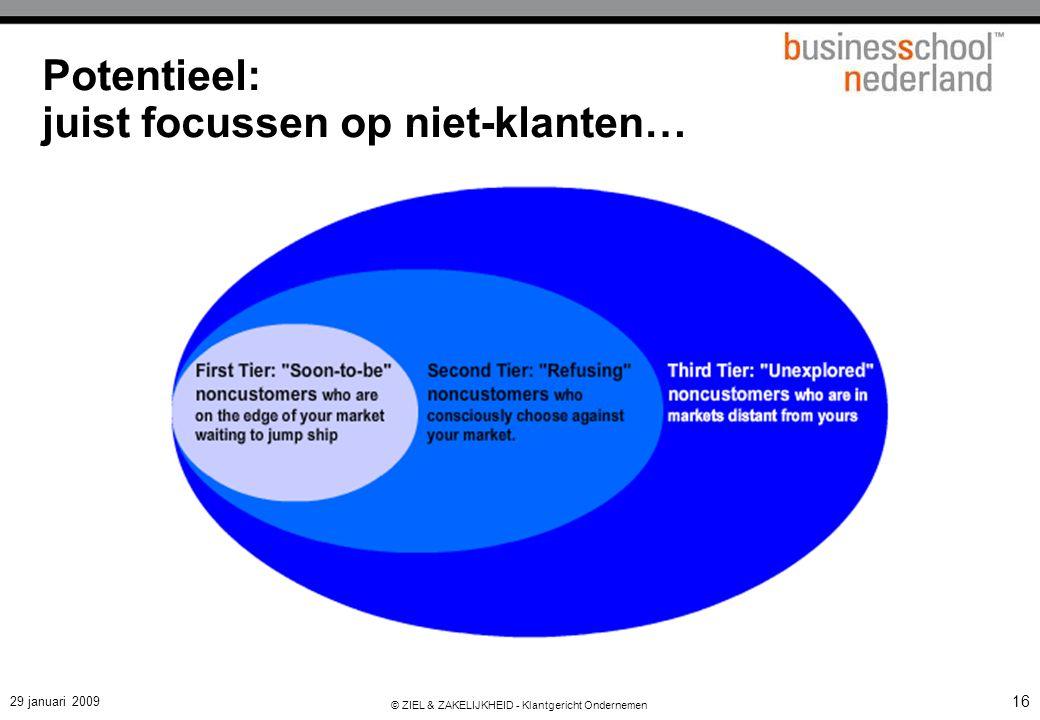 29 januari 2009 © ZIEL & ZAKELIJKHEID - Klantgericht Ondernemen 16 Potentieel: juist focussen op niet-klanten…