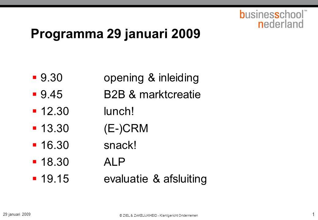 29 januari 2009 © ZIEL & ZAKELIJKHEID - Klantgericht Ondernemen 1 Programma 29 januari 2009  9.30opening & inleiding  9.45B2B & marktcreatie  12.30