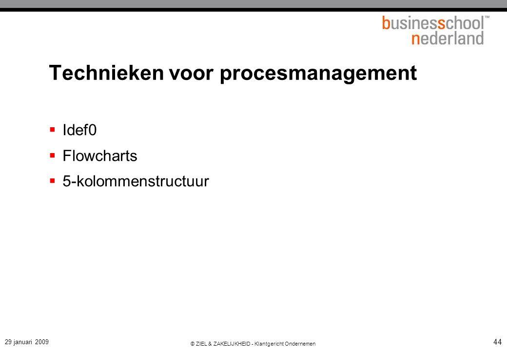 29 januari 2009 © ZIEL & ZAKELIJKHEID - Klantgericht Ondernemen 44 Technieken voor procesmanagement  Idef0  Flowcharts  5-kolommenstructuur
