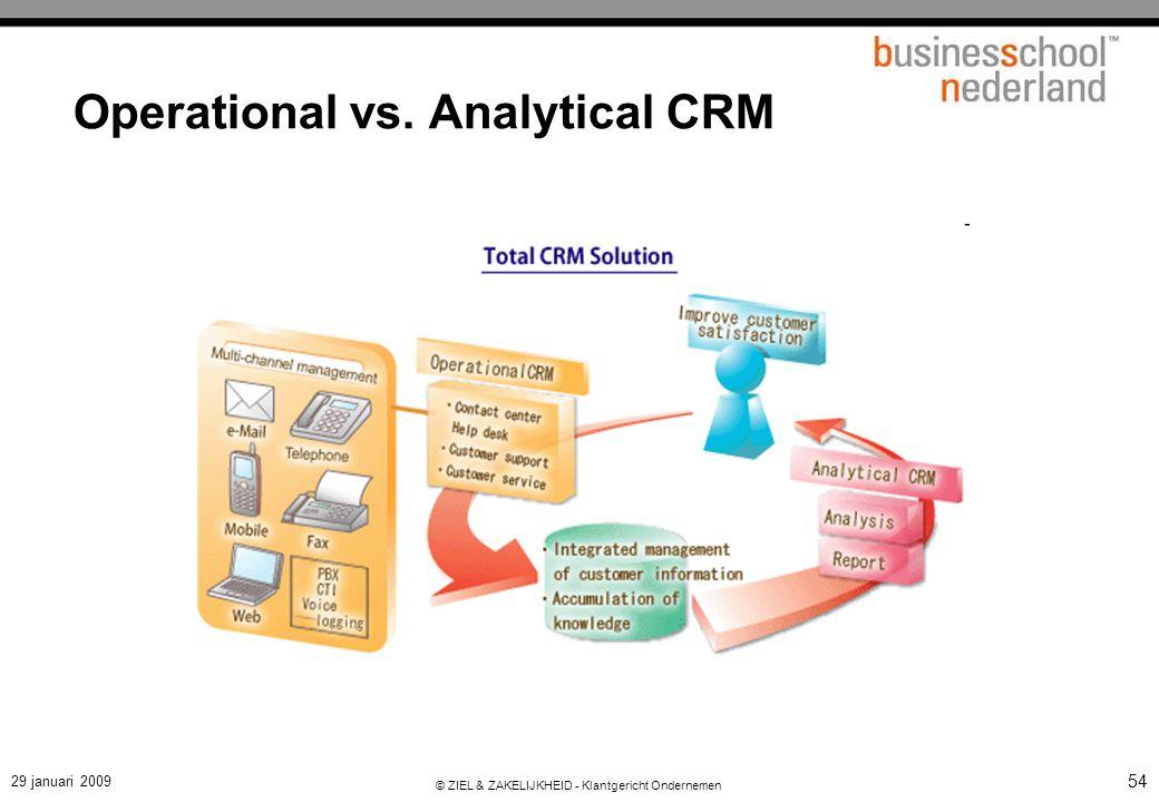 29 januari 2009 © ZIEL & ZAKELIJKHEID - Klantgericht Ondernemen 54 Operational vs. Analytical CRM Operational CRM Andere Bronnen ERP Data Warehouse An