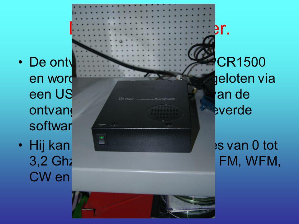 De radio-ontvanger. De ontvanger is een ICOM IC-PCR1500 en wordt gewoon op de pc aangeloten via een USB 2.0 poort. De sturing van de ontvanger gebeurt