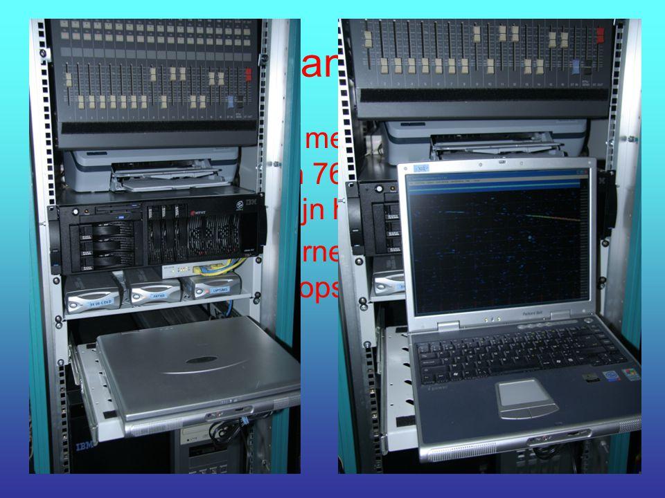 De PC en randapparatuur De PC is portable met een 2,4 GHz P4, 20 Gb harde schijf en 768 Mb werkgeheugen, verbonden met mijn home network. Er is ook ee