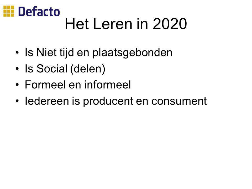 Het Leren in 2020 Is Niet tijd en plaatsgebonden Is Social (delen) Formeel en informeel Iedereen is producent en consument