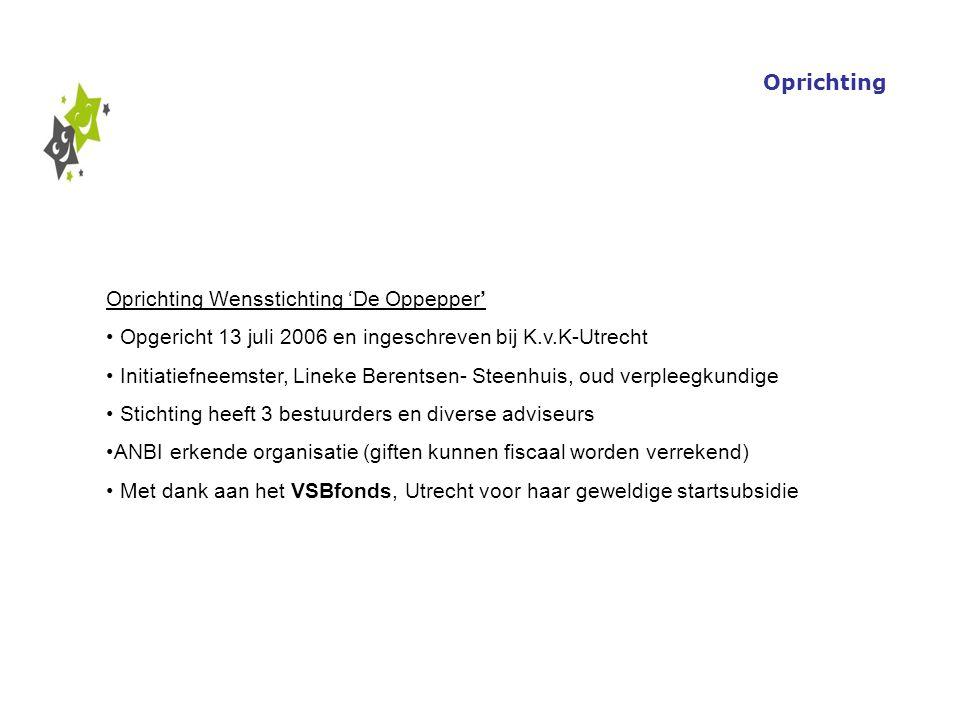 Oprichting Wensstichting 'De Oppepper' Opgericht 13 juli 2006 en ingeschreven bij K.v.K-Utrecht Initiatiefneemster, Lineke Berentsen- Steenhuis, oud v