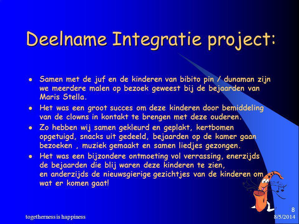 8/5/2014 togetherness is happiness 8 Deelname Integratie project: Samen met de juf en de kinderen van bibito pin / dunaman zijn we meerdere malen op b