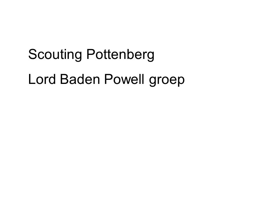 Scouting Pottenberg Lord Baden Powell groep