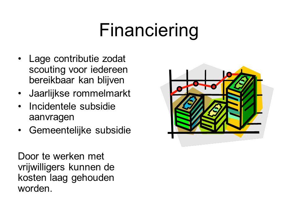Financiering Lage contributie zodat scouting voor iedereen bereikbaar kan blijven Jaarlijkse rommelmarkt Incidentele subsidie aanvragen Gemeentelijke subsidie Door te werken met vrijwilligers kunnen de kosten laag gehouden worden.