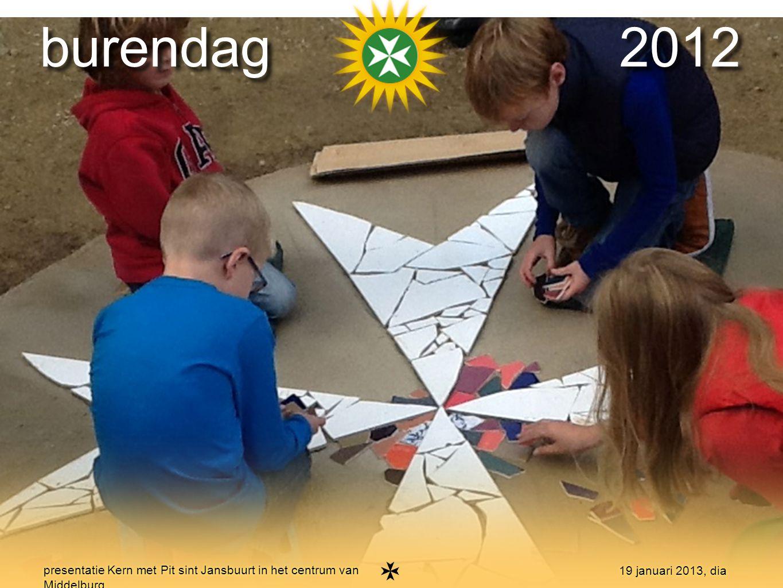 15 presentatie Kern met Pit sint Jansbuurt in het centrum van Middelburg 19 januari 2013, dia burendag 2012