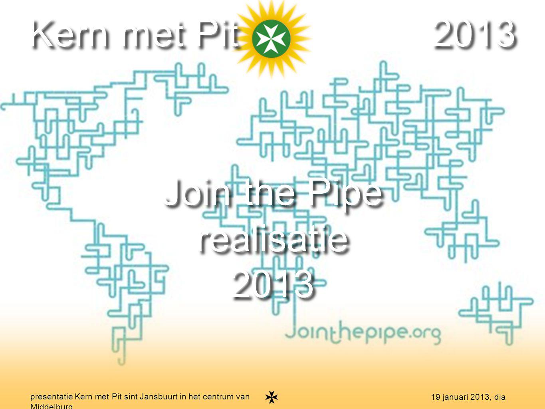 18 presentatie Kern met Pit sint Jansbuurt in het centrum van Middelburg 19 januari 2013, dia Kern met Pit 2013 Join the Pipe realisatie 2013 Join the