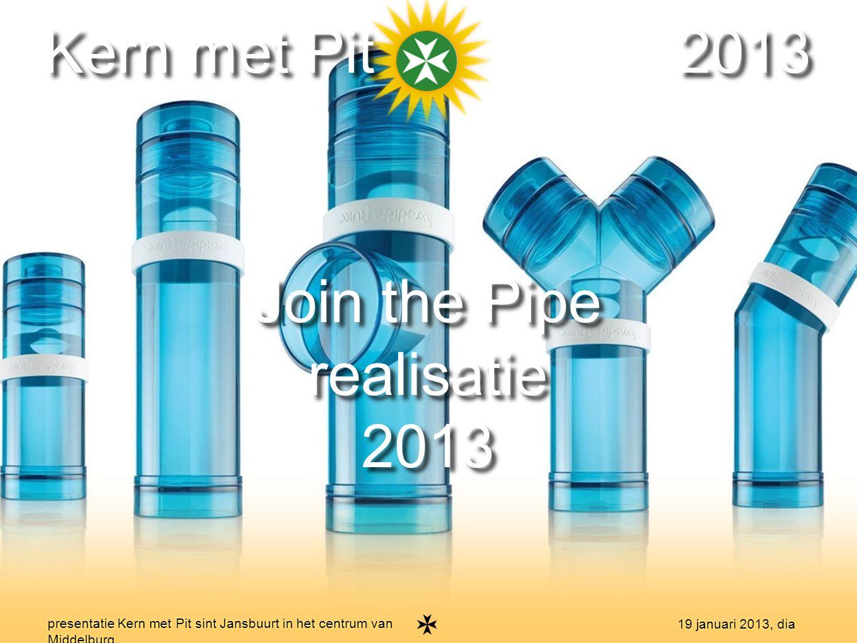 19 presentatie Kern met Pit sint Jansbuurt in het centrum van Middelburg 19 januari 2013, dia Kern met Pit 2013 Join the Pipe realisatie 2013 Join the