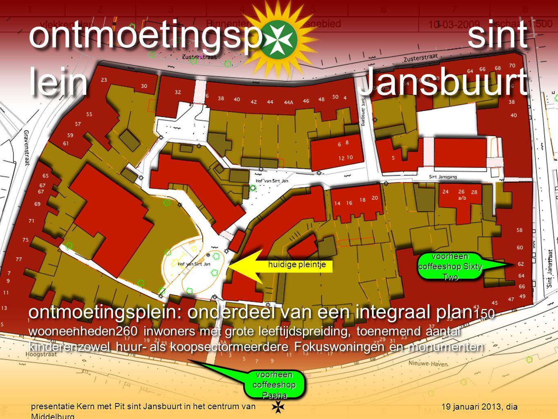 presentatie Kern met Pit sint Jansbuurt in het centrum van Middelburg 19 januari 2013, dia ontmoetingsplein: het huidige schetsplan verdwijnen coffeeshops en grondruil met kunstenaars brengt nieuwe mogelijkheden besproken met buurtbewoners, kunstenaars, gemeente, Fokus-unit etc.randvoorwaarden bepaald en ideeën geïnventariseerdtranspratie en toegankelijkheid zijn sleutelwoorden voor de inrichting ontmoetingsplaats straks zichtbaar op Google-Earth ontmoetingsplein: het huidige schetsplan verdwijnen coffeeshops en grondruil met kunstenaars brengt nieuwe mogelijkheden besproken met buurtbewoners, kunstenaars, gemeente, Fokus-unit etc.randvoorwaarden bepaald en ideeën geïnventariseerdtranspratie en toegankelijkheid zijn sleutelwoorden voor de inrichting ontmoetingsplaats straks zichtbaar op Google-Earth ontmoetingsp lein sint Jansbuurt