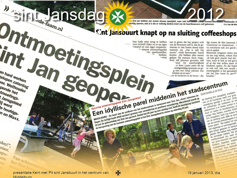 8 presentatie Kern met Pit sint Jansbuurt in het centrum van Middelburg 19 januari 2013, dia sint Jansdag 2012