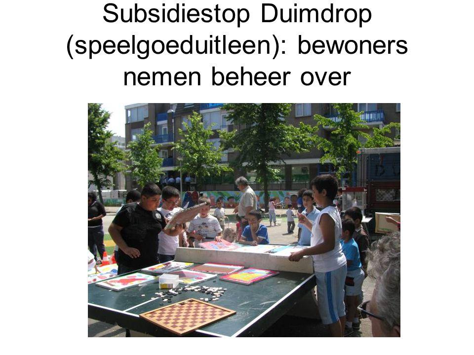 Subsidiestop Duimdrop (speelgoeduitleen): bewoners nemen beheer over