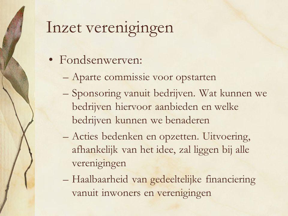 Inzet verenigingen Fondsenwerven: –Aparte commissie voor opstarten –Sponsoring vanuit bedrijven.
