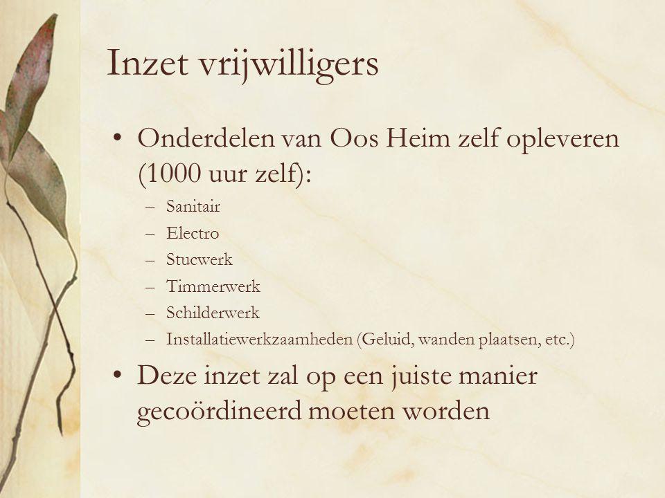 Inzet vrijwilligers Onderdelen van Oos Heim zelf opleveren (1000 uur zelf): –Sanitair –Electro –Stucwerk –Timmerwerk –Schilderwerk –Installatiewerkzaamheden (Geluid, wanden plaatsen, etc.) Deze inzet zal op een juiste manier gecoördineerd moeten worden