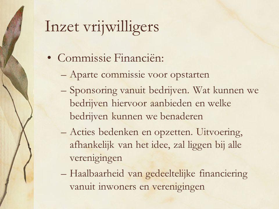 Inzet vrijwilligers Commissie Financiën: –Aparte commissie voor opstarten –Sponsoring vanuit bedrijven.