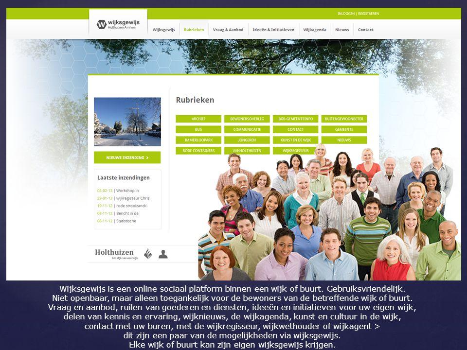 Wijksgewijs is een online sociaal platform binnen een wijk of buurt.